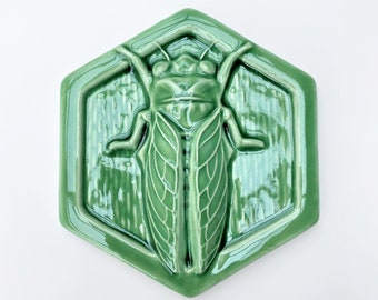 Ready to Ship Cicada Ceramic Tile / Handmade Cicada Tile  / Cicada Backsplash / Cicada Accent Tile / Cicada Fireplace Tile