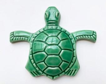 Ready to Ship Sea Turtle Ceramic Tile / Handmade Sea Turtle Tile  / Sea Turtle Backsplash / Sea Turtle Accent Tile / Sea Turtle Fireplace