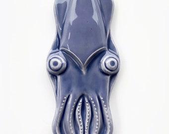 Ready to Ship Squid Ceramic Tile / Handmade Squid Tile  / Squid Backsplash / Squid Accent Tile / Squid Fireplace Tile