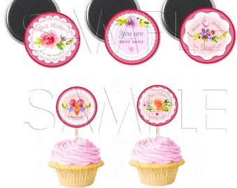 I Love My Mastiff 2 inch Cupcake Toppers or Favor Tags,Digital Download,DIY Printable,Instant Download