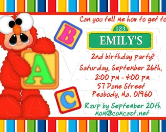 Tickle Me Invitations Sesame Street Birthday Blocks Red Rainbow Stripes