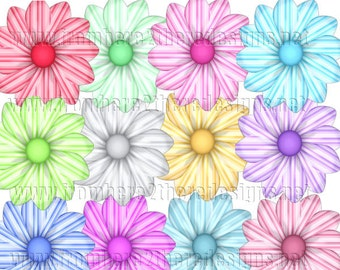 Flowers Striped Clipart, Elements, Scrapbooking Resources, Instant Download