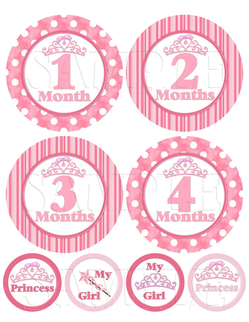 Monthly Picture Sticker Baby Girl Clothes DIY Printable Instant Download Labels Tiara Crown Month Milestone Stickers Digital File