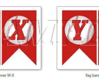 AA LiL Slugger Baseball Banner, Digital Download, Baseball Baby Shower Banner, Baseball Bunting Banner,Red & White Baseball Birthday Banner,