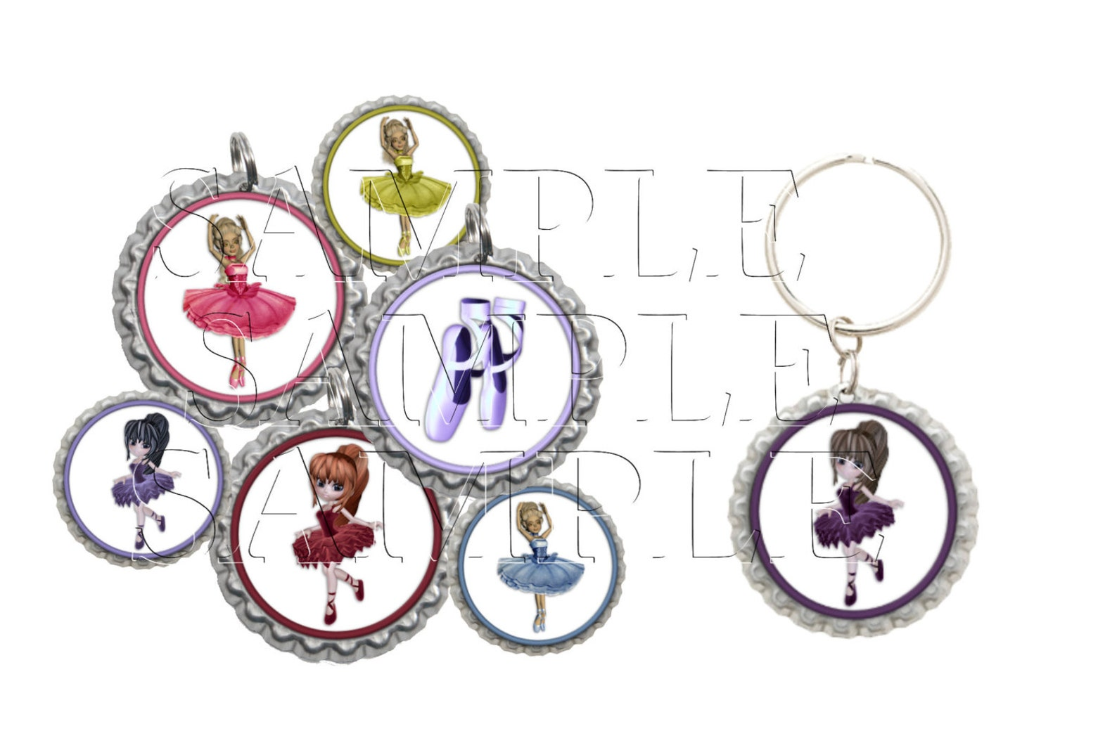 ballet bottle cap images, clip art,1 inch circles, cupcake toppers, stickers,buttons, digital download, diy printable
