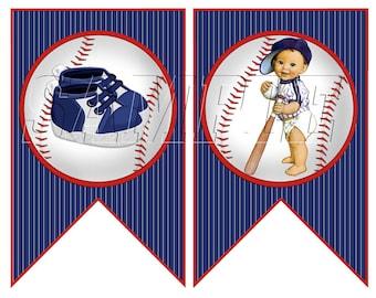 LiL Slugger Baseball Banner, Digital Download, Baseball Baby Shower Banner, Baseball Bunting Banner, Blue Red Baseball Birthday Banner,