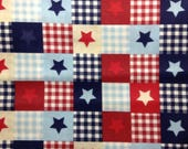 One 17 Inch Piece of Fabric - Star Patch, Patriotic Fabric