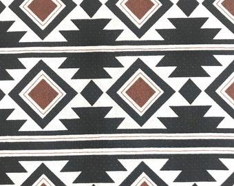 One Half Yard of Fabric Material - Boho Rust/Black Aztec Design, Aztec Fabric, Southwestern Fabric