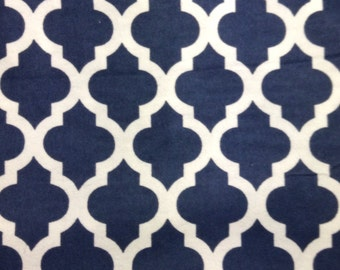SALE - One Yard Piece of  Fabric Material - Dark Blue Moroccan - FLANNEL