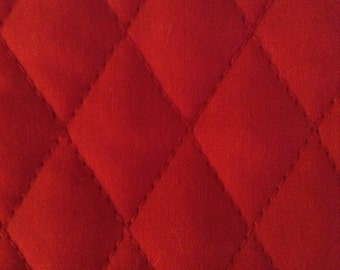 One Half Yard of Double Sided, Pre Quilted Fabric Material - Christmas Red