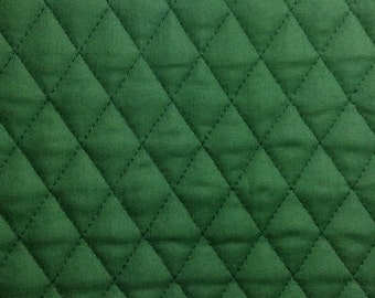 One Half Yard of Double Sided, Pre Quilted Fabric Material - Hunter Green