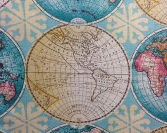 SALE - One Half Yard of Fabric Material - Vintage Globe