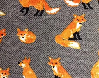 One 31 Inch Piece of Fabric Material - Fox on Gray Herringbone