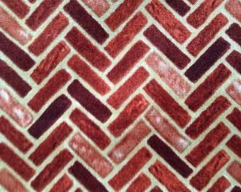 One Fat Quarter of Fabric Material Landscape Multicolored Herringbone Brick