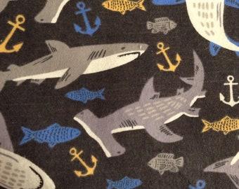 One Half Yard of Fabric - Sharks on Black,  FLANNEL, Shark Flannel Fabric