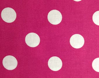 One Half Yard Piece of Fabric Material - Deep Raspberry with White Dots