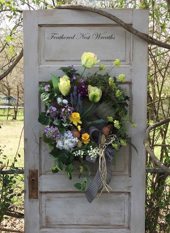 Spring Door Wreath Spring Door Decor Tulip Wreath Spring | Etsy