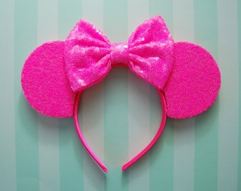 PREORDER!! Neon Pink Sequin Bow Ears