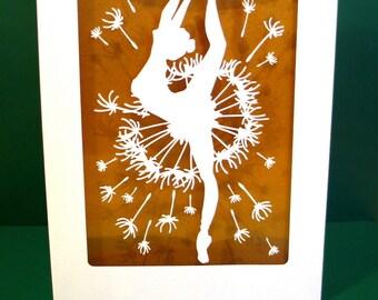 Ballet Dancer Papercut Template, SVG, Dandelion, Greeting Cards, Papercut Card, Paper Cut, Papercutting, Paper Cutting, Commercial, Dance