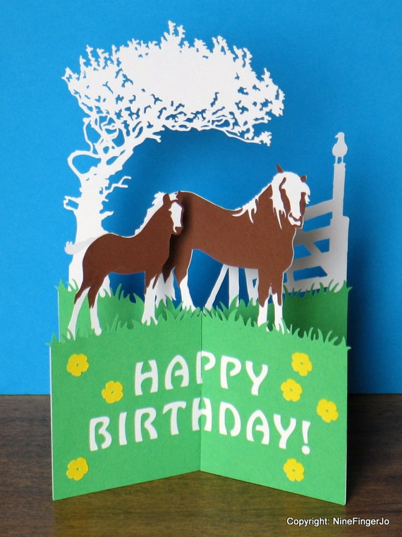 Horses Birthday Card Mothers Day Happy Easter