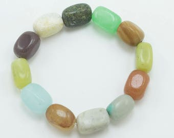 jasper quartz other minerals multi-mineral bead bracelet on elastic band aventurine sample minerals Set of 12 quartz beads 30g