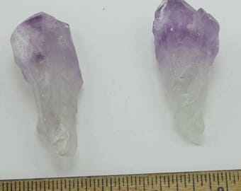 """Amethyst Rough, 67g, Whole Rough Amethyst Crystals, Set of Two, Natural Faces, 2.5 x 1""""  (60 x 30mm)"""