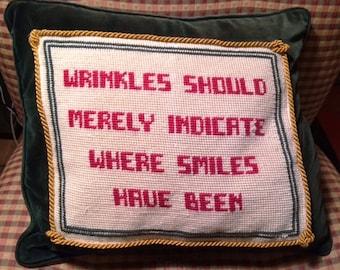 "Needlepoint Decorative Pillow ""Wrinkles"""
