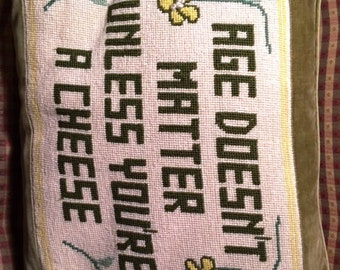"Needlepoint Decorative Pillow ""Age"""