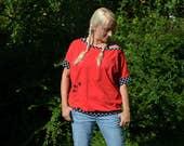 Short sleeve shirt, red, bat shirt, t shirt