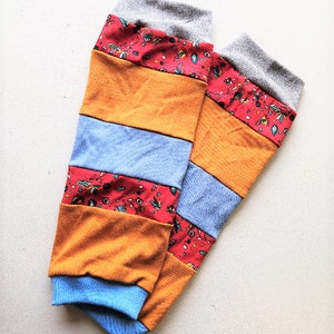 Leg warmers cuffs patchwork blue colorful size XS to S
