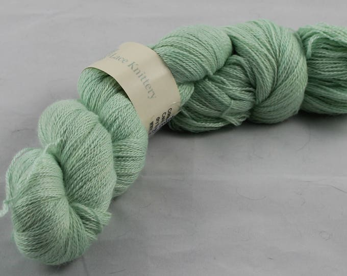 Space dyed natural yarn, lace weight baby alpaca, silk and cashmere in soft green