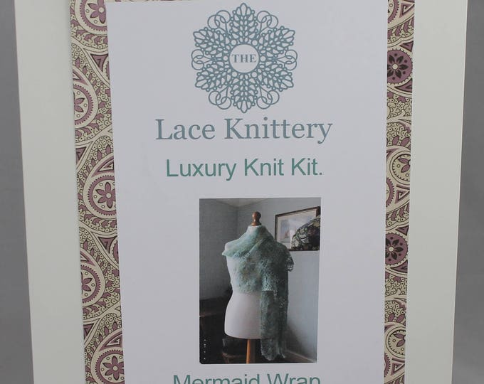 Mermaid Wrap Knitting Kit in Hand Painted Baby Alpaca, Silk and Cashmere Yarn.