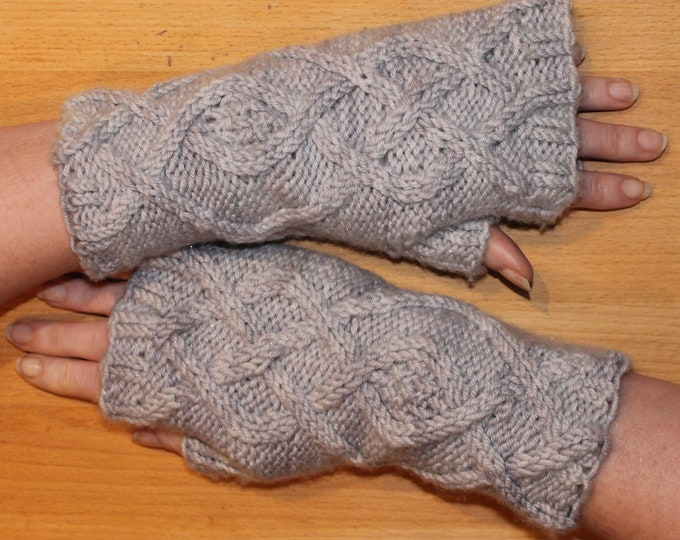 Penryn fingerless mitt cable knitting pattern, PDF instant download