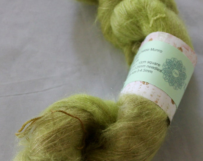 Hand painted kid mohair and silk yarn in the colours of bracken on the lochside