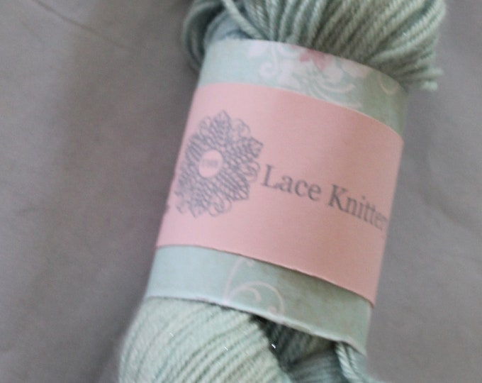 Hand painted double knit extra fine merino, silk and sparkle yarn in soft greens