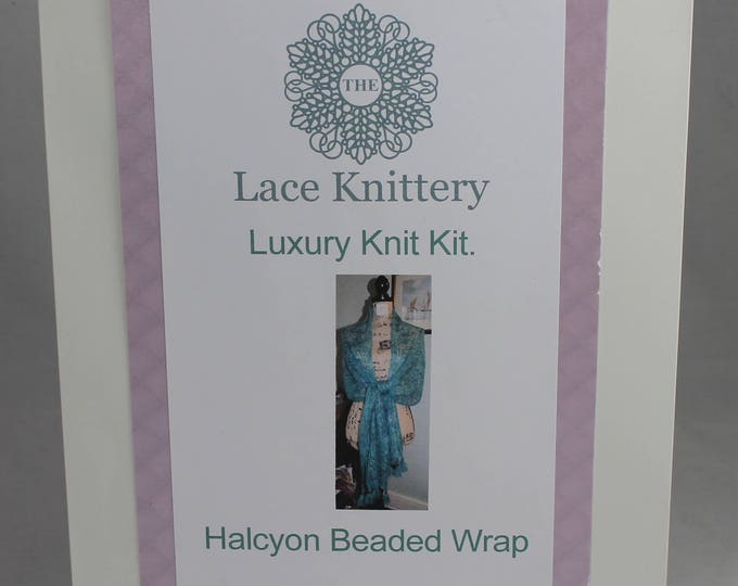 Halcyon Beaded Wrap, Complete Watercolour Knitting Kit in Hand Painted Natural Yarn