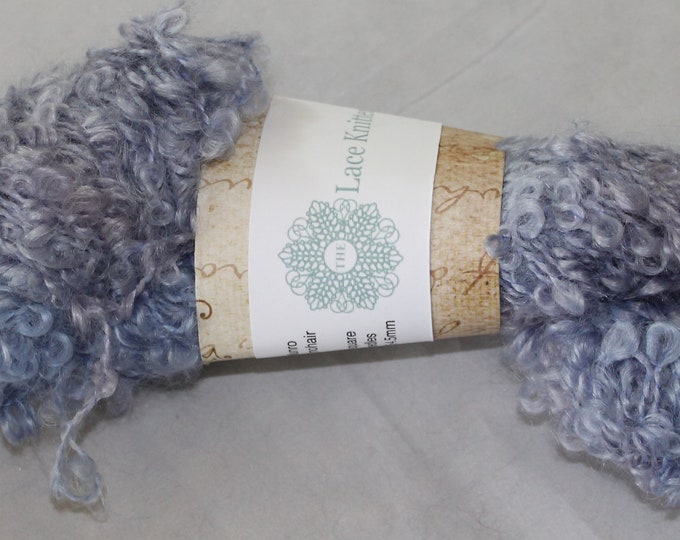 hand painted kid mohair boucle yarn in wisteria flower colours