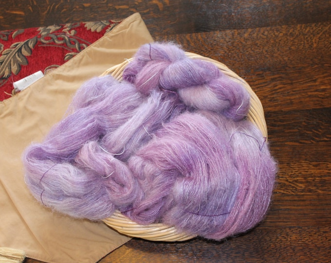Ombre dyed lace weight kid mohair and silk yarn