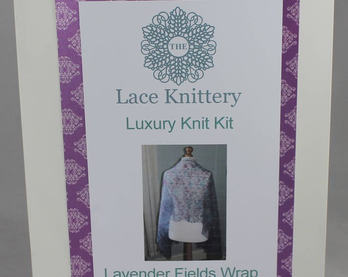 Lavender Fields Wrap Complete Watercolour Knitting Kit in Hand Painted Natural Yarn.