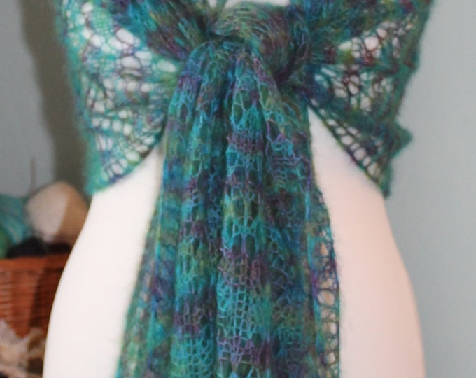 Hand painted kid mohair and silk yarn in peacock colours