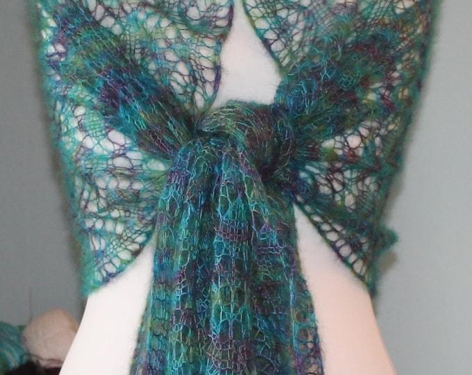Peacock Wrap Lace Knitting Pattern PDF download