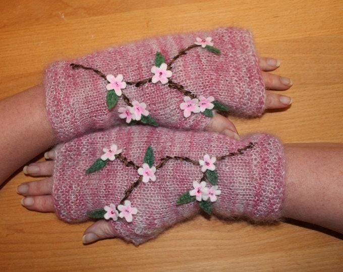 Embellished Fingerless Mitt instant download PDF knitting pattern