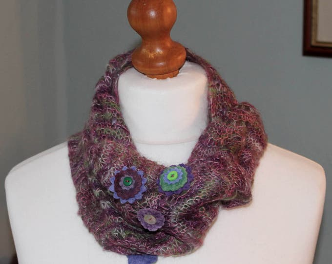 Hand painted infinity scarf in flower garden colours with felt flower decoration