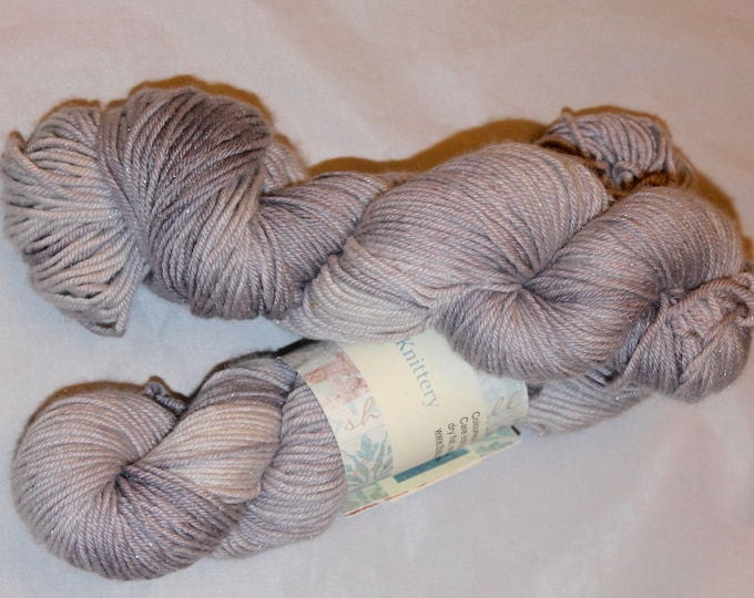 Double knit extra fine merino, silk and stellina silver sparkle yarn in soft greys/Cornish Mizzle colour