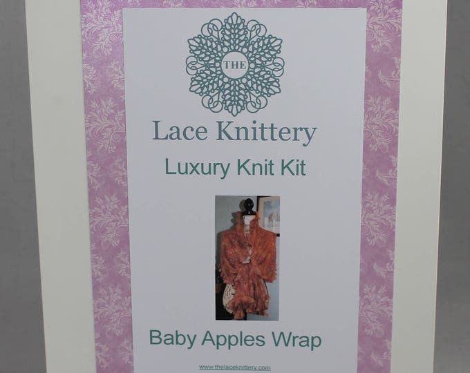 Baby Apples Watercolour Wrap Knitting Kit, complete in natural fibres