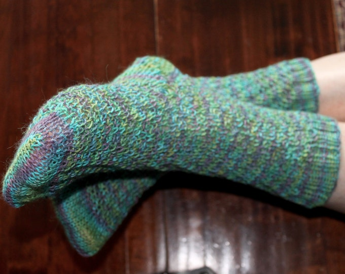Twisted Peacock Sock Kit in Hand Painted Baby Alpaca, Silk and Cashmere, pattern for five sizes from small women's to large men's