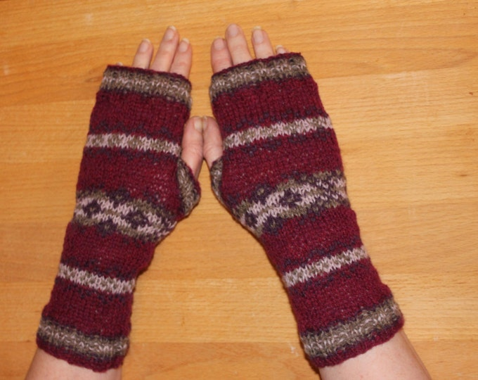 Fair Isle Fingerless Mitt Pattern PDF