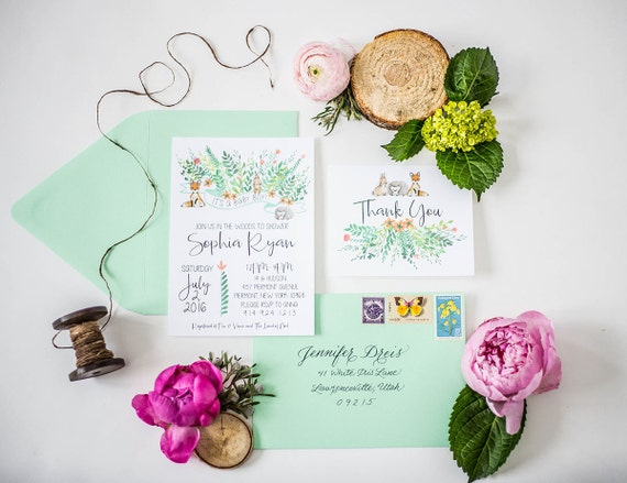 725d2a91d Woodland Rustic Baby Shower Invitation Thank You