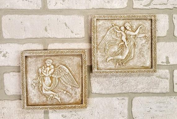 Antique Vintage Set of 2 Angels Wall Decor Cherub Art Sculpture Greek