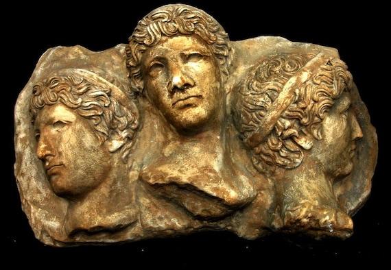 Three Faces Greco-Roman Wall Sculpture Art Plaque